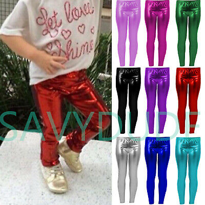 Girls Metallic Leggings Foil Gold Nativity Wet Look Shiny Kids Childrens Costume