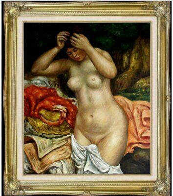Framed Hand Painted Oil Painting, Renoir Bather Arranging Her Hair Repro 20x14in