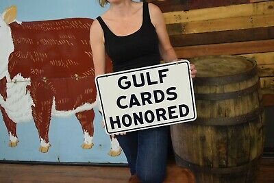 Original Gulf Porcelain Sign NOS 2 sided credit cards Gas Station oil advert.