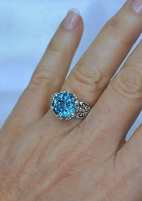 Konstantino Blue Topaz Ring Size 9 Faceted Sterling Silver 18K Yellow Gold New