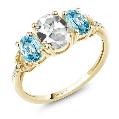 10K Yellow Gold Engagement Ring 2.32 Ct Oval White Created Sapphire Blue Zircon