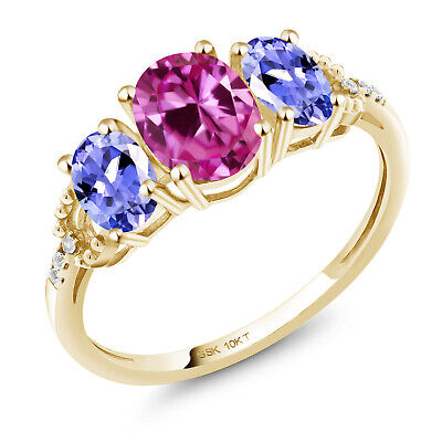 10K Yellow Gold Ring 1.82 Ct Oval Pink Created Sapphire Blue Tanzanite