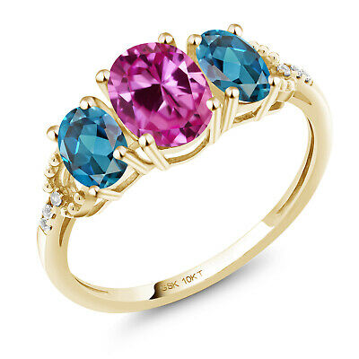 10K Yellow Gold Ring 2.12 Ct Oval Pink Created Sapphire London Blue Topaz