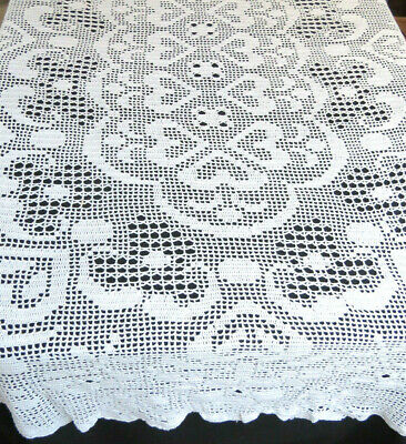 """70x86"""" Oval 100% Cotton Handmade Crochet Lace Tablecloth White"""