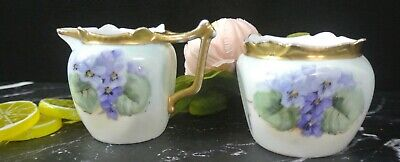Vintage Favorite Bavaria Open Sugar Bowl and Creamer with Blue Pansy Flowers