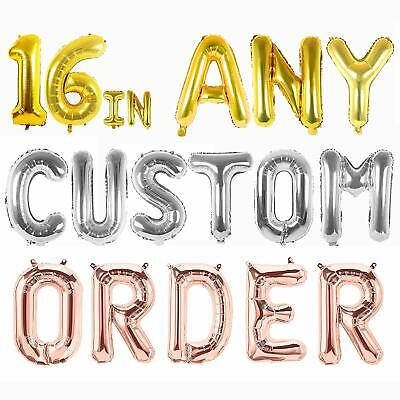 ROSE GOLD SILVER GOLD Custom Name Letters & Number Foil Balloons FREE 10m RIBBON