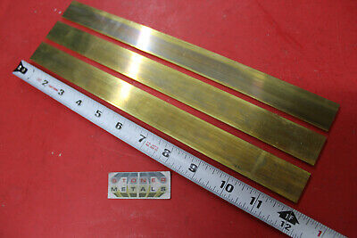 "3 Pieces 1/8"" x 1"" C360 BRASS FLAT BAR 12"" long Solid Plate .125"" Mill Stock H02"