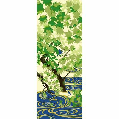 Japanese Tenugui picture towel Water pattern and spring green made in Japan