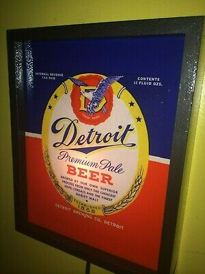 Detroit Premium Pale Beer Bar Tavern Man Cave Lighted Advertising Sign