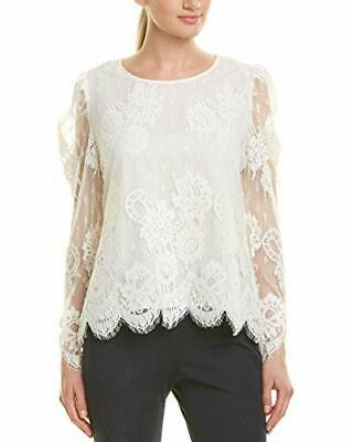 Vince Camuto Womens Ivory Sheer Lace Long Sleeves Blouse Top S BHFO 0211