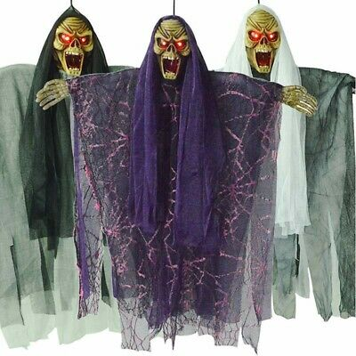 Animated Zombie Ghost with Lighted Eyes Life Size Halloween Prop Outdoor Party