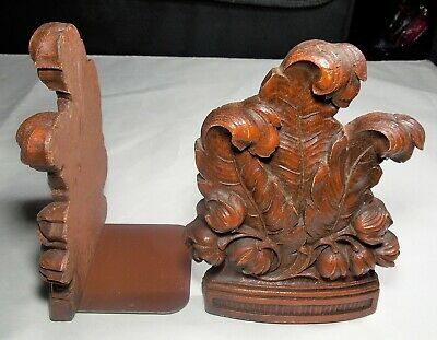 Pair Syroco Wood Bookends Plumes Feathers Fern Floral Book Ends