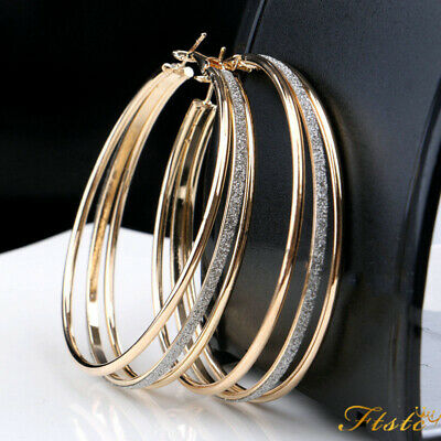 Silver Gold Plated Women Crystal Rhinestone Three Circles Hoop Dangle Earrings