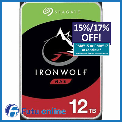 "12TB Seagate IronWolf NAS HDD 3.5"" Internal Hard Drive Sata 7200RPM 256 MB Cache"