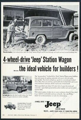 All Work Or Play 4X4 1965 JEEP Universal Blue SUV VINTAGE AD Boat