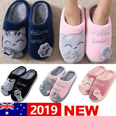 Winter Warm Cute Cat Paw Cotton Fleece Slippers Home Family Indoor Shoes AU Sale