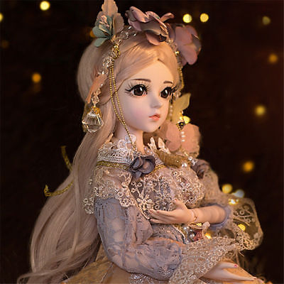 Free Clothes Shoes Eyes Face Makeup Xmas Gift 60cm BJD Doll 1//3 Pretty Girl