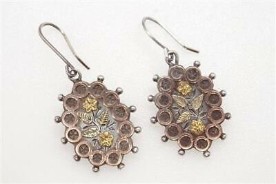 ANTIQUE VICTORIAN ENGLISH SILVER & 3 COLOUR GOLD FLORAL EARRINGS c1890