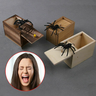 Wooden Prank Spider Worm Scare Box Funny Practical Joke Gag Toys Trick Halloween