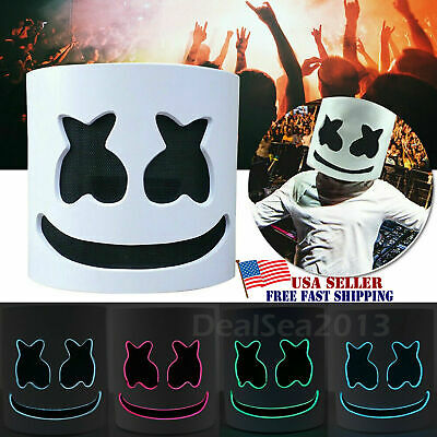LED Mask DJ-MarshMello Full Head Helmet Halloween Cosplay Bar Party Music Prop