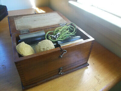 100 Yr Old Electropatic Quack Medical Shock Machine Original Dovetail Wood Box