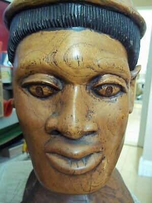 2 Ft Tall Solid Wood Sculpture Of Head Face Detailed C. Boyd Jamaica West Indies