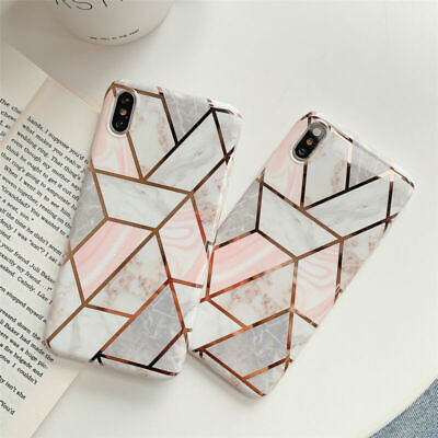 Soft Case Cover for iPhone XS MAX X 10 XR 6s 6 8 7 Plus Pastel Marble Geometric