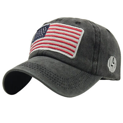 Men Women Outdoor American Flag Fashion Washable Baseball Cap Camping Hat Letter