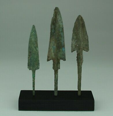 3 X Museum Quality Luristan Bronze Age Arrowheads 1200-800Bc   015