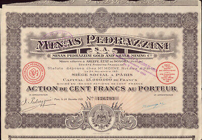 Original Colombia Bond 1897 Gold Mines Cauca Co 20 shares 500fr Uncancelled coup