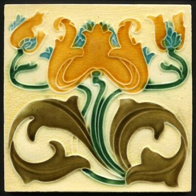 TH2630 Very Rare Art Nouveau Majolica Tile Lea & Boulton c.1905