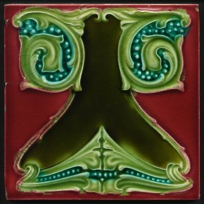 TH3401 Very Rare Outrageous Claret & Blue Art Nouveau Majolica Tile Richards c.1