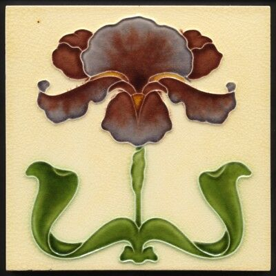 TH3537 Iconic Art Nouveau Purple Iris Majolica Tile J H Barratt Rd.1904