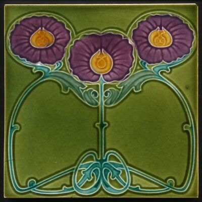 TH3540 Rare Marsden Art Nouveau Majolica Tile Purple Flowers c.1905