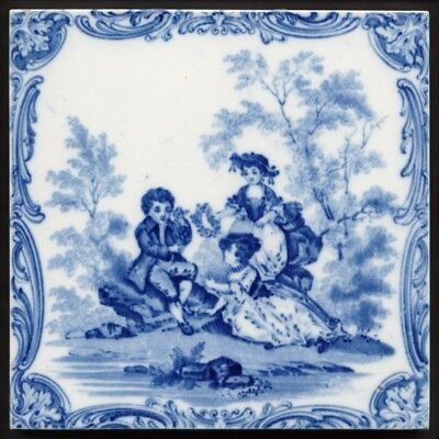 TH2822 Minton Pastoral Rural Idyll Transfer Printed Blue & White Tile c.1850