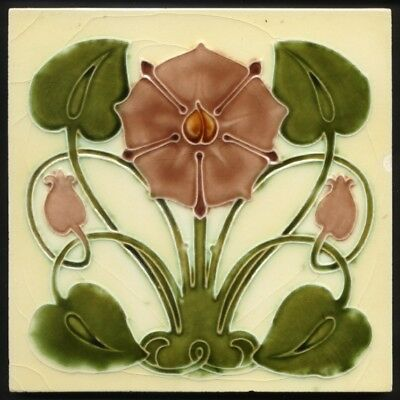 TH3543 Very Rare 'Tudor Rose' Art Nouveau Majolica Tile J & W Wade c.1905