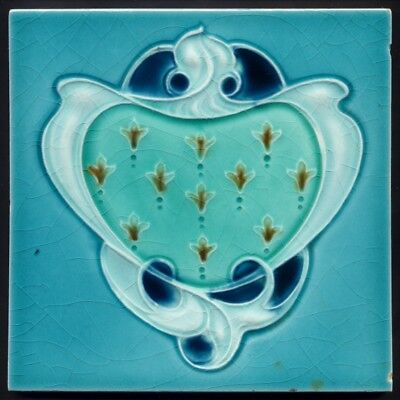 TH3300 Exceedingly Rare Four Blues Art Nouveau Majolica Tile Henry Richards 1905