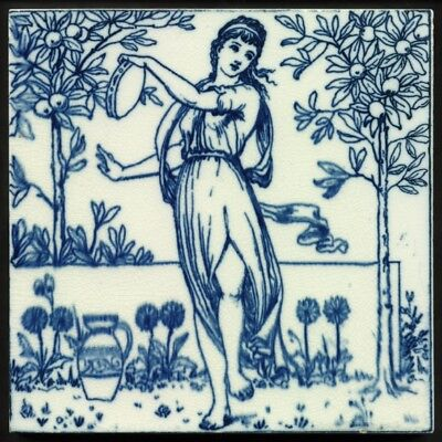 TH2373 Wedgwood Blue & White Classical Musicians in the Orange Grove Tile c.1880