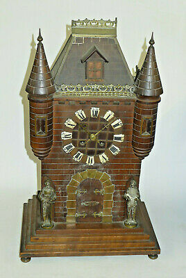 Gothic Castle Black Forest style Antique Striking Clock Knights, BRISTOL made