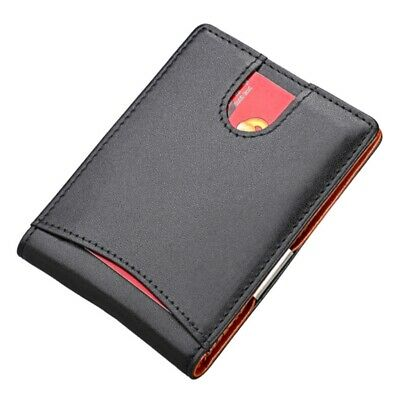 RFID Blocking Money Clip Mens Genuine Leather Wallet Thin Bifold card holder