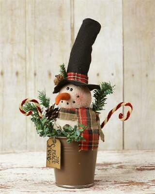 """New Primitive Christmas SNOWMAN DOLL IN RUSTY POT Bucket Candy Canes 12"""""""
