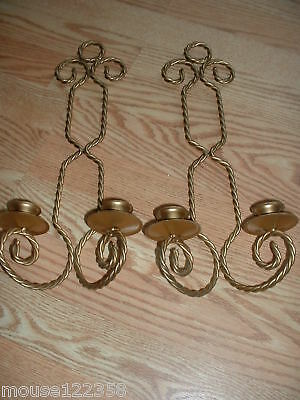 Vintage Pair Brass Sconce or candle  holders twisted pa