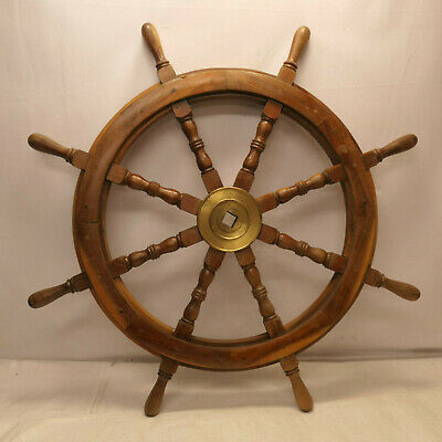 Vintage Large Ship's Wheel 90cm Wooden Japanese Nautical Maritime #94