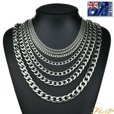 "Top 316L Stainless Steel Heavy Link Silver Curb Cuban Chain Men Necklace 18""-28"""