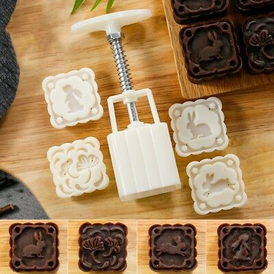4 Rabbit Stamps Moon Cake Mould DIY Square Mooncake Mold Baking Tool 63g