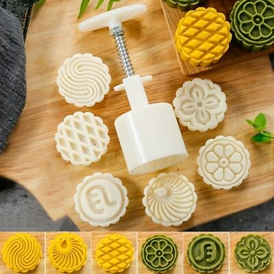 6 Flower Stamps Moon Cake Mould DIY Round Mooncake Mold Baking Tool 63g