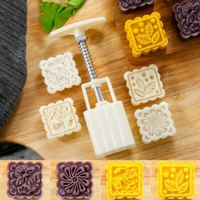 4 Flower Stamps Moon Cake Decor Mould DIY Pastry Square Mooncake Mold 50g