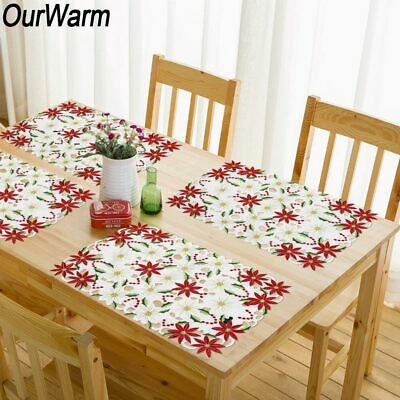 2x Poinsettia Embroidered Christmas Placemats Table Cloth New Year Table Decor