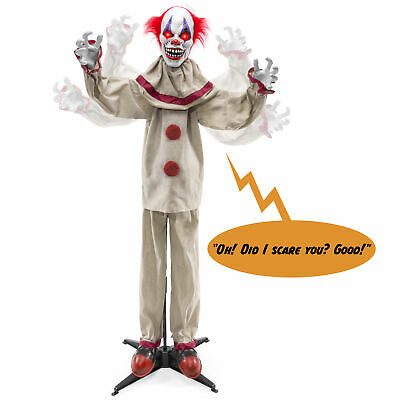 BCP Scary Harry the Motion Activated Animatronic Killer Clown Halloween Prop