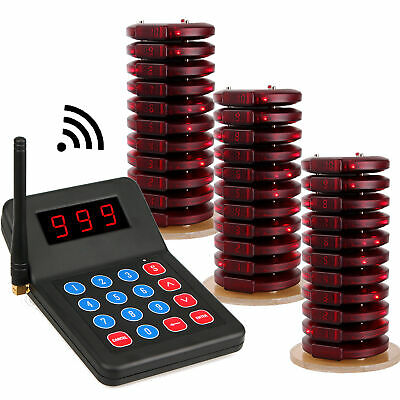 999CH Restaurant Wireless Paging Queuing System Transmitter w/ 30*Coaster Pagers